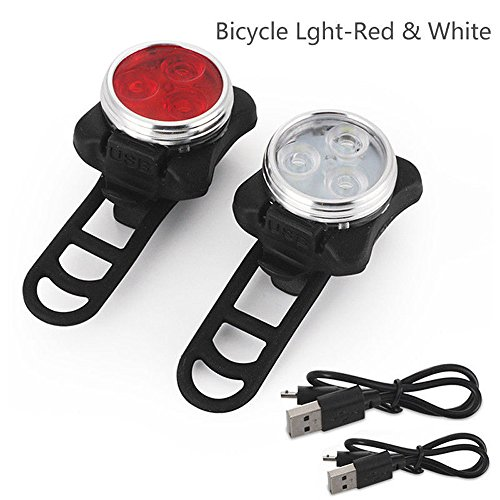 kashyk Frontlicht und Rücklicht Fahrradlampe Set, USB Aufladbar LED Fahrrad Lichter Set rot & Weiß,Radfahren Fahrrad Vorne und Rücklicht 5 Licht Modis