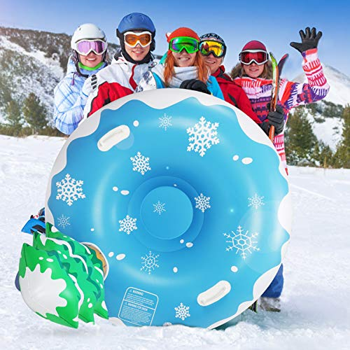 Extra Large 50 Inch Snow Tube with Backrest Tree No More Popped with Thicker K80 Military Grade Material Inflatable Snow Sled for Kids and Adults Durable Sledding Tubes Heavy Duty Inflatable Snow Tube
