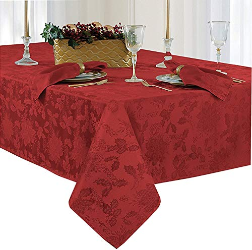 Christmas Carol Damask No Iron Soil Release Holiday Tablecloths, 52' x 70' Oblong/Rectangle, Red