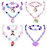 4 Sets Girl Princess Necklace Bracelet with Unicorn Mermaid Rainbow Butterfly Pendants Colorful Beaded Necklace Bracelet Stretchy Chunky Costume Jewelry Present Toy for Girls Party Favors Dress up