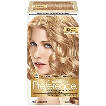 L Oreal Paris Superior Preference Fade-Defying + Shine Permanent Hair Color 8G Golden Blonde Pack of 1 Hair Dye