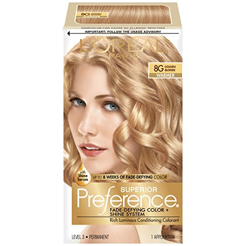 L'Oreal Paris Superior Preference Fade-Defying + Shine Permanent Hair Color, 8G Golden Blonde, Pack of 1, Hair Dye