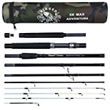 X5 MAX Compact Travel Fishing Rod. Spin Cast Bait Fly Travel Fishing Rod. 9 Rods Combinati...