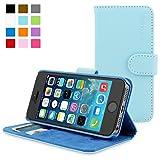 Snugg Schutzhülle für Phone 5 / 5S – Etui aus Leder mit Kartenschlitzen und Ständer – Legacy-Kollektion, Flipcase, Handyhülle in Babyblau