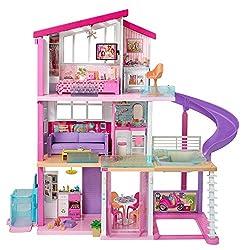Barbie Traumvilla Dreamhouse Adventures Puppenhaus mit 3 Etagen, 8 Zimmer, Pool mit Rutsche und Zubehör, ca. 116 cm hoch, mit Lichter und Geräuschen, Spielzeug ab 3 Jahren