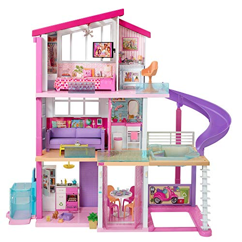 Barbie Dreamhouse Dollhouse with Wheelchair Accessible Elevator, Pool, Slide and 70 Accessories Including Furniture and Household Items, Gift for 3 to 7 Year Olds, Multicolor