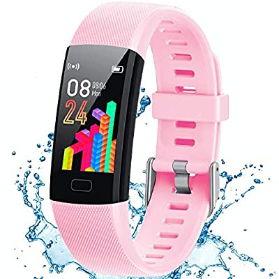 Inspiratek Kids Fitness Tracker for Girls and Boys Age 5-16 (4 Color)- Waterproof Fitness Watch for Kids with Heart Rate Monitor, Sleep Monitor, Calorie Counter and More - Kids Activity Tracker (pink)