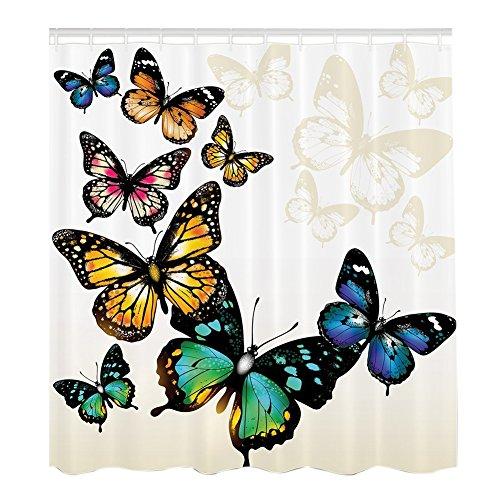 Etopfashion monarque papillons ailes rideau de douche décoration ombres et ombres ombre de fond, rideau de douche de tissu de polyester, 71 pouces, bleu rose vert jaune(180_x_180_cm, 2)