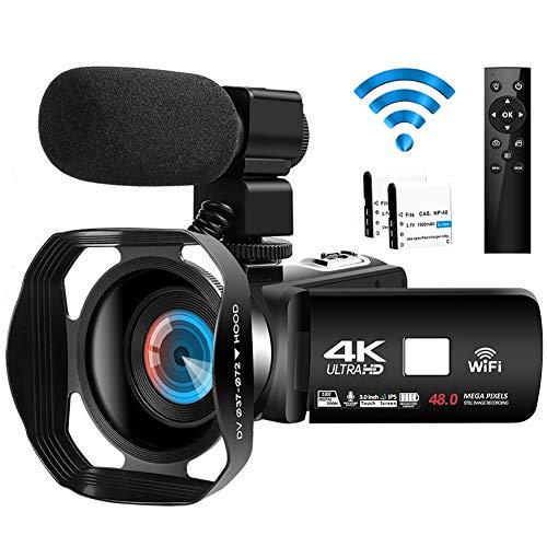 Videocámara Videocamara 4K Ultra HD 48MP WiFi Videocámara de IR Visión Nocturna de Youtube Vlog Cámara de Video Digital con Micrófono