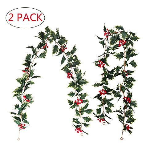 AKSIPO 2 Pack Red Berry Christmas Garland Artificial Christmas Vines Long Rattan Holly Leaves Xmas Garland for Fireplace Table Home Indoor Outdoor Winter Holiday Party New Year Decor