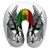 Oreiller Train et Camping Crâne Militaire Patriote Crâne Drapeau Sénégal Casque Crâne Militaire...