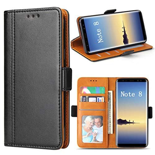 Bozon Galaxy Note 8 Hülle, Leder Tasche Handyhülle für Samsung Galaxy Note 8 Flip Wallet Schutzhülle mit Ständer & Kartenfächer/Magnetverschluss (Schwarz)