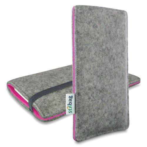 stilbag Filztasche \'Finn\' für Apple iPhone 5s - Farbe: hellgrau/pink