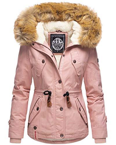Navahoo warme Damen Designer Winter Jacke Winterjacke mit Kapuze und Teddyfell B643 [B643-Pearl-Rosa-Gr.S]