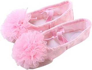 HEALLILY Ballet Dancing Shoes With Gauze Flower Leather Soles Dance Shoes For Kids Size 27 Pink