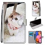 Miagon Flip PU Leder Schutzhülle für Samsung Galaxy A20S,Bunt Muster Hülle Brieftasche Case Cover Ständer mit Kartenfächer Trageschlaufe,Schal Katze -