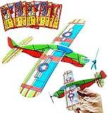 BESTZY 24 Aviones planeadores deslizantes para lotes de Regalos,Flying Glider Plane Set,premios para Juegos