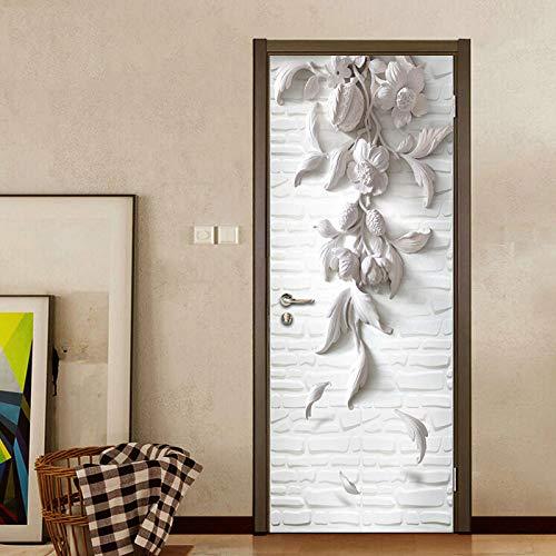 3D Türaufkleber Blume Pvc Abnehmbar - Türposter Türaufkleber Für Wohnzimmer, Schlafzimmer Tür Dekoration 95 * 215cm