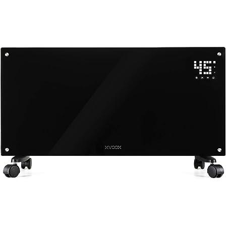 XVOOX パネルヒーター 対流式 暖房 空間加熱 即暖性高い 高速発熱 温度調節機能付き タイマー機能 リモコン付き LEDディスプレイ タッチ操作 壁にも据えつける 3-8畳 (ブラック)