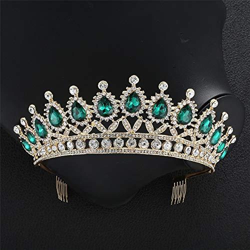 Yhjkvl-AC Tiara de corona de cristal para boda con diamantes de imitación tiara corona princesa tiara accesorios para el pelo de novia con peine (color: verde, tamaño: 15 x 6,5 cm)