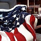 Brandream Designer Fleece Blanket American Flag Blankets Throw Blanket for Boys/ Girls/ Adults Blankets 51 X63 Super Soft