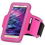 Medion Life X6001 Jogging Tasche Handy Hülle Sportarmband Fitnesstasche Lauf Bag, Farben:Pink