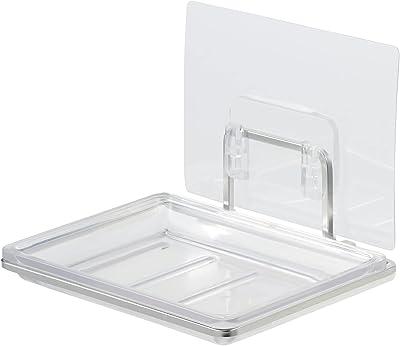 SORO:U ステンレス 石けん皿 吸着シートで壁面取付け (抗菌トレー) 外せる受け皿