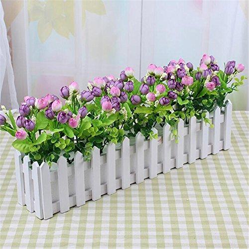 Lembeauty – Jardinière décorative en bois style mini clôture pour décoration d'intérieur ou de jardin avec mousse plastique, Bois dense, L: 30cm