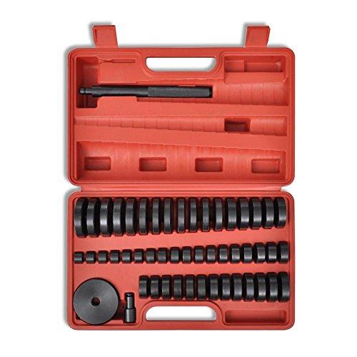 LARS360 52 tlg Montagescheiben Treibsatz für Ein und Auspressen Lagern und Buchsen Simmering Druckstück Werkzeug Set Treibsatz Lager Schalen Wechsel einpressen 18–65 mm