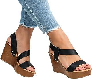 SHOULIEER Femmes Sandales compensées Plate-Forme Sandales été sans Lacet sur Les Chaussures à Talons Hauts pour Dames Blac...