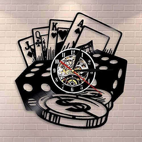 ZZLLL Poker Dice Wall Art Poker Chip Set Reloj de Pared Sala de póquer decoración de la Pared Reloj Disco de Vinilo Reloj de Pared Jugador de póquer Regalo