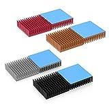 ELUTENG ヒートシンク 40×40×11mm 8個入り チップ用マルチヒートシンク 熱伝導性両面テープ付き 熱暴走対策 アルミ製 放熱板 CPU ICチップ 回路基板 LEDアンプ 電源アダプターに適用 DIYキット Heatsink(ブラック×2/ シルバー×2/ 赤い×2/ ゴールド×2)
