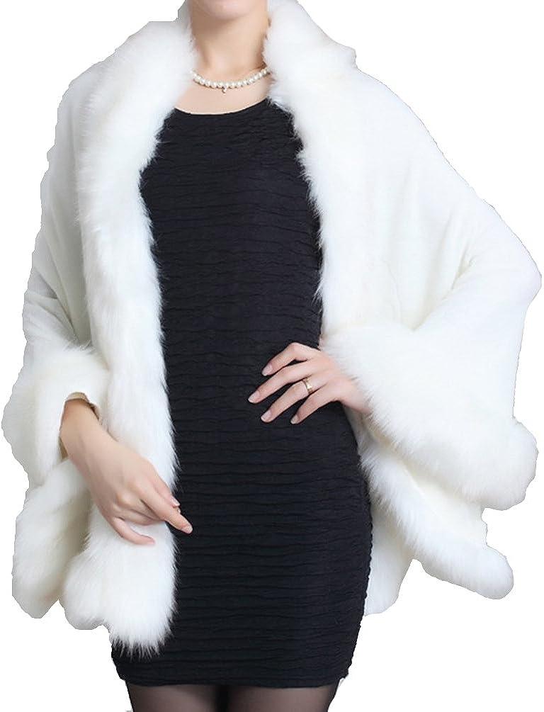 Helan Women's Faux Fox Fur Shawl Cloak Cape Coat with Floral