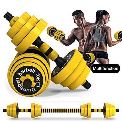 DDFE Adjustable Dumbbell Barbell Lifting Set 40.4lb New Dumbbell Barbell Set for Men,Women,Beginners,Home with Four 4lb. Four 2.8lb.Four 3.3lb.Weights, 2 Dumbbell Bars,1 Barbell Connecting Rod