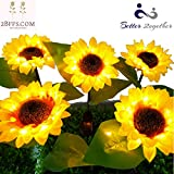 2BFFS 2PC Outdoor Sunflower Solar LED Lighting, Garden Decorative Lights, Pathway and Landscaping Lights Waterproof, Sunflower Garden Decor Solar Lights Outdoor Garden Stake Flower Lights- Yard Art