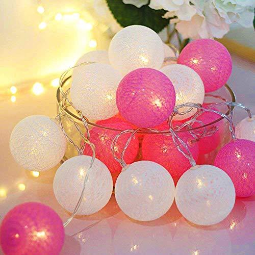 Cadena de luces LED, bolas de algodón, funciona con pilas, 3,3 m, 20 bolas de algodón, luz nocturna, para Navidad, bodas, fiestas, habitaciones, residencias, decoración interior