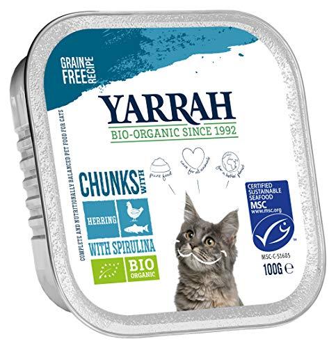 Yarrah Lot de 16 sachets de Nourriture Bio pour Chat Petits Morceaux de Poisson 100 g chacun (16 x 0,1 kg)
