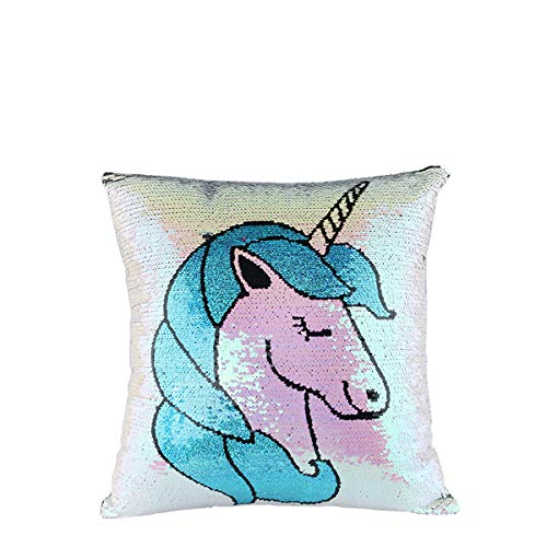Comtervi Unicorn - Federa reversibile con paillettes, cuscino decorativo, motivo unicorno, 40 x 40 cm (arcobaleno unicorno)