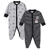 Gerber Baby Boys 2-Pack Thermal Sleep 'N Play, penguin Stripe, Newborn