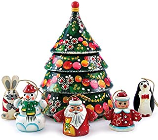 Matryoshka Christmas Tree Nesting Doll with Christmas Ornaments New Beautiful Pink Wooden Russian Nesting Dolls Gift Matreshka Handmade Hand-painted Babushka Doll