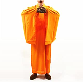 Buddhist Shaolin Monk Kung fu Robe Meditation Long Gown Suit yellow L