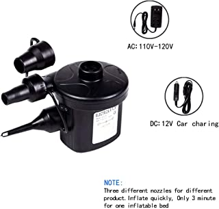 ZDUMU Electric Air Pump AC 110V, Car Charge Air Pump DC 12V, Air Pump for inflatables for Swiming Ring Pool Air Mattress Boat Toy Quick-Fill with 3 Nozzles