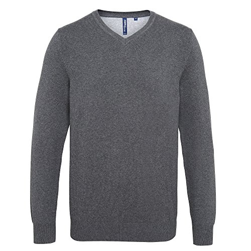 Asquith & Fox - Sudadera con cuello en V para hombre (S/Carbón )
