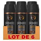 Axe Dark Temptation Déodorant Homme Spray Antibactérien, Fraîcheur 48h, Pour sentir bon toute la journée, Contre les mauvaises odeurs (Lot de 6x150ml)