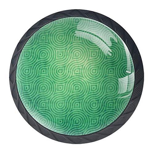 4 manopole trasparenti per porta, cassetti, armadietto, credenza, felice S. Valentino, Verde, 3.5×2.8CM/1.38×1.10IN