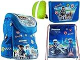 4-teiliges Set Polizei Police Playmobil Schulranzen-Set Schulranzen, Federmappe, Sportbeutel, Regenschutz neu Schule 4 Teile