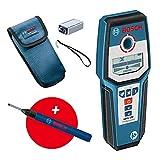 Bosch Professional Detector de Pared GMS 120, Marcador de Agujeros, Detección En Madera/Metal Magnético/Metal No Magnético/Cables con Tensión 38/120/80/50 mm, Amazon Exclusive Set