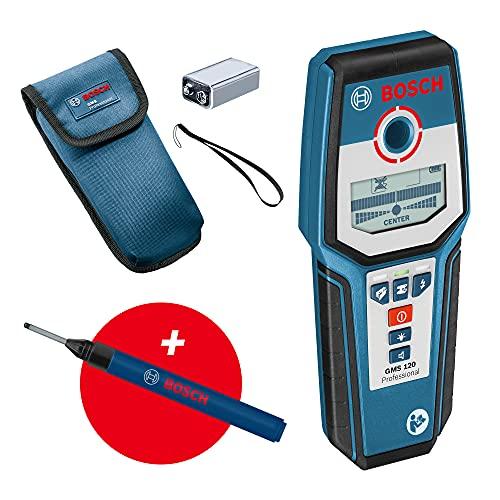 Bosch Professional digitales Ortungsgerät GMS 120 (Bohrlochmarker, max. Detektionstiefe Holz/Eisenmetalle/Nichteisenmetalle/spannungsführende Leitungen: 38/120/80/50 mm) -...
