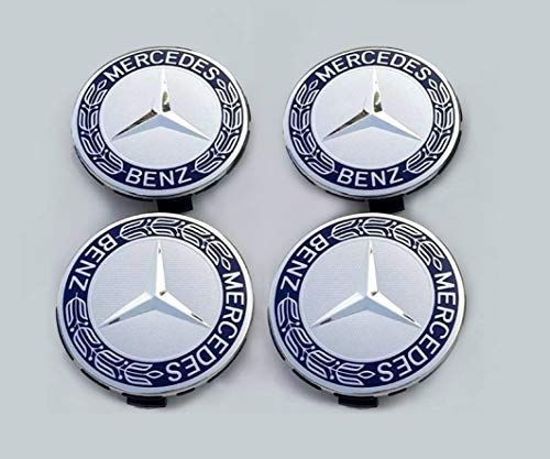 Lot de 4 centres de roue en alliage chromé et bleu de 75 mm eMarkooz pour roues Mercedes Benz