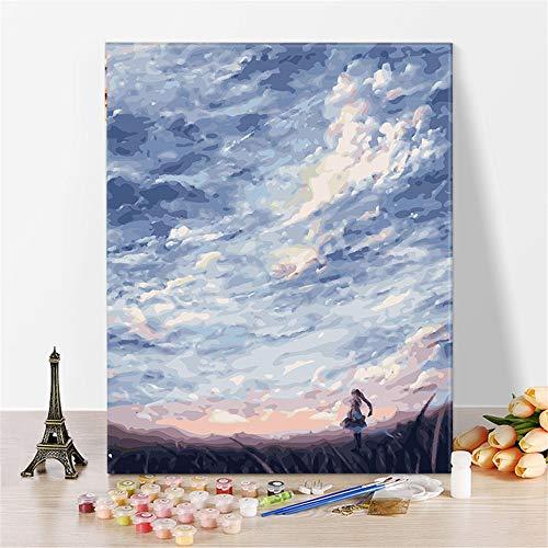 Pintura de paisaje por números Kits de decoración del hogar pintados a mano lienzo de dibujo pintura al óleo para colorear imágenes por números A4 40x50cm